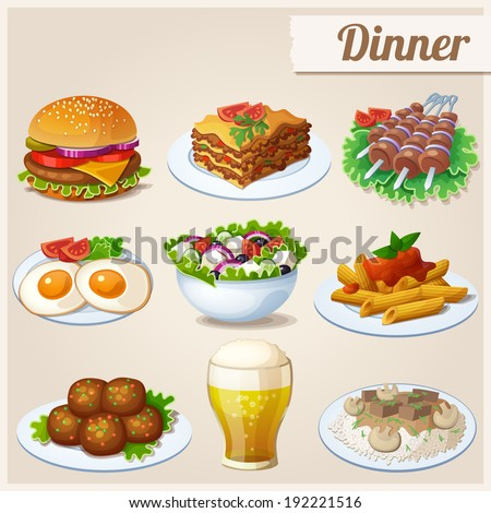 Set of food icons. Dinner.  Fried eggs, glass of beer, hamburger, greek salad, beef stroganoff, lasagna, shashlik, penne pasta, meatballs