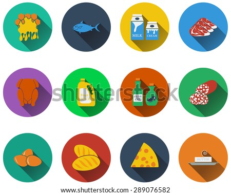 Set of food icons in flat design. EPS 10 vector illustration with - stock vector