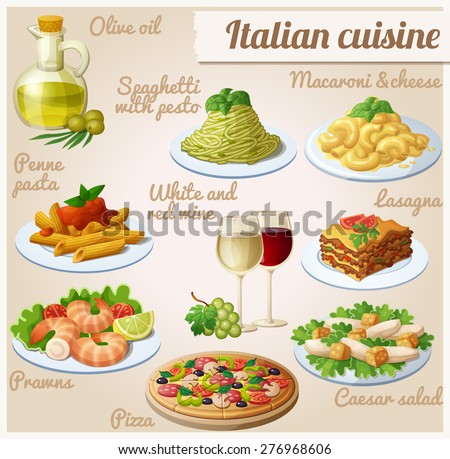 Set of food icons. Italian cuisine. Spaghetti with pesto, lasagna, penne pasta with tomato sauce, pizza, olive oil, macaroni and cheese, red and white wine in glasses, prawns, caesar salad - stock vector