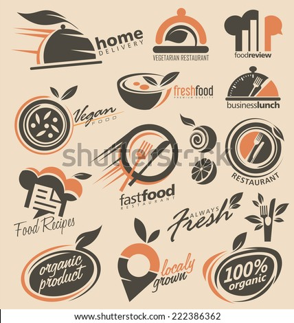 Set of food icons, signs, symbols and design elements ideas. Logo inspiration for restaurant or cafe. - stock vector