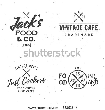 Set of food related vintage labels. - stock vector