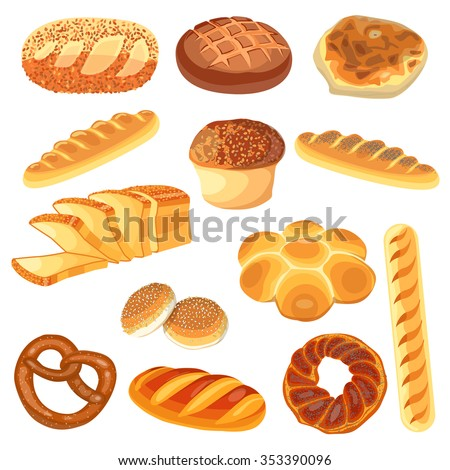Set of food:  rye, wheat, whole grain, sliced bread, ciabatta, bagel, french baguette, croissant. Vector illustration, isolated on white. - stock vector
