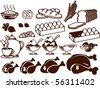 Set of food symbols - stock vector