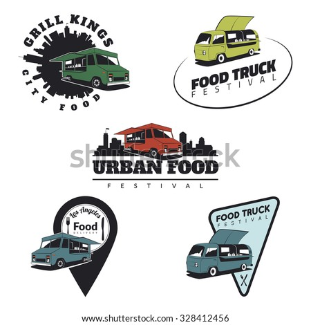 Set of food truck emblems, icons and badges. Urban, street food illustrations and graphics. - stock vector