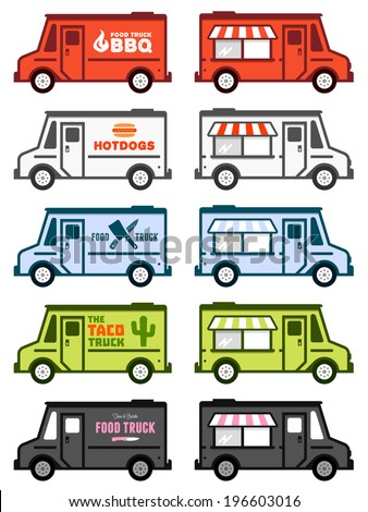 Set of food truck illustrations and graphics - stock vector