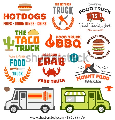 Set of food truck logo graphics and truck illustrations - stock vector