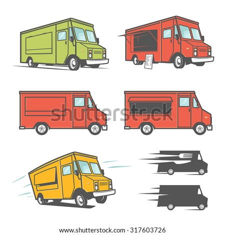 Set of food trucks from various angles, icons and design elements - stock vector