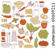 Set of food, vector illustration - stock vector