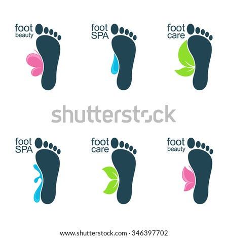 Set of foot icons with water drops, butterflies and leaves for SPA, organic beauty and health care or ecology design - stock vector