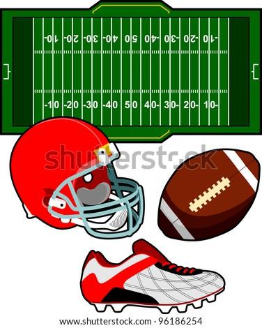 Set of Football Equipment - stock vector