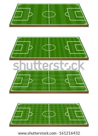 Set of Football Fields 3D Perspective 2 Horizontal and Vertical Pattern - stock vector
