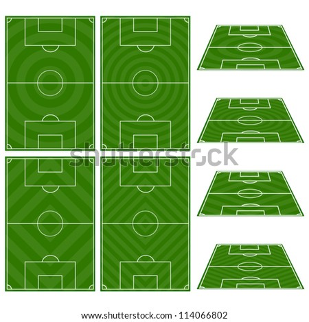 Set of Football Fields with Circular and Diagonal Patterns - stock vector