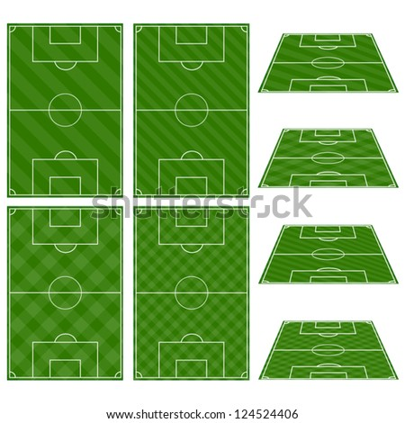 Set of Football Fields with Diagonal Patterns - stock vector