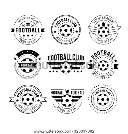 Set of football or soccer emblems, labels, logos and badges with ribbon banners, circular frame, crown and text. Football logo vector illustration. Team play in football - stock vector