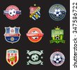 set of football (soccer) crests and logos. vector illustration