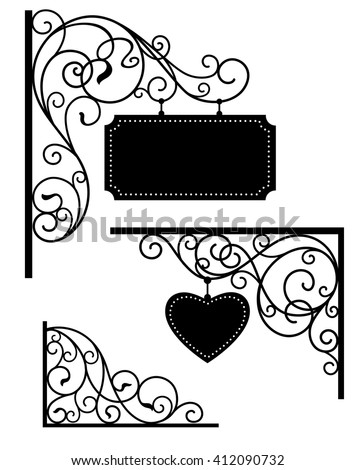 set of forged metal elements - stock vector