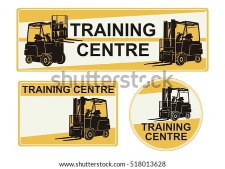 Set forklift training center stickers flat stock vector 2018 set of forklift training center stickers flat vector publicscrutiny Images