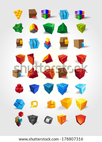 set of forty abstract colored cubes  for design - stock vector