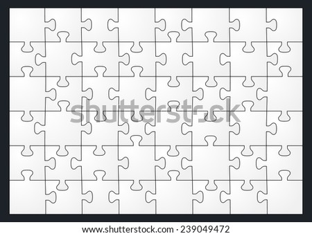 Set of forty-eight puzzle pieces. Isolated on black background. Vector illustration, eps 8. - stock vector