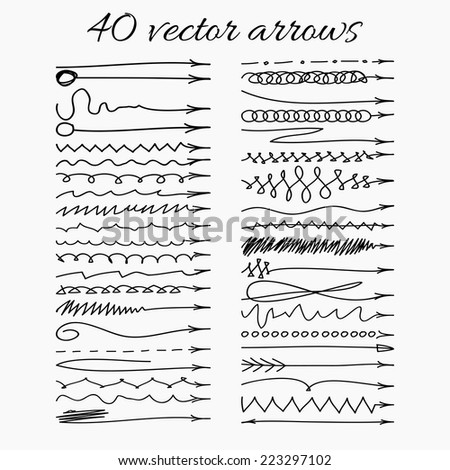 Set of forty hand-drawn vector arrows. Vector illustration. Easy paste to any background. - stock vector