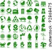 Set of 42 (forty two) green ecology icons - stock photo