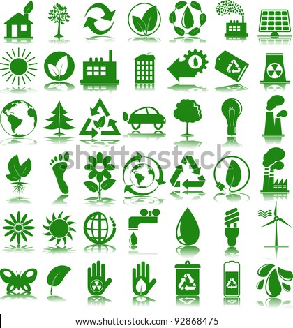 Set of 42 (forty two) green ecology icons - stock vector