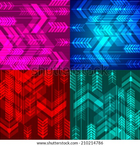 Set of four abstract arrows backgrounds. Vector illustration. - stock vector