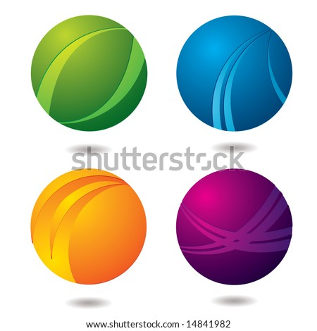 Set of four abstract buttons with drop shadow - stock vector