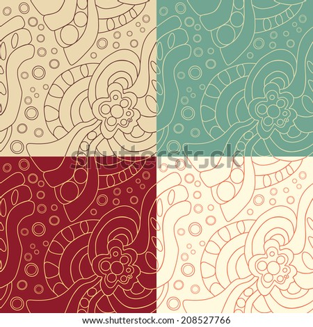 Set of four Abstract seamless pattern. White, red, blue, brown.