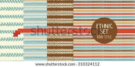 set of four abstract seamless patterns in boho style, vector illustration