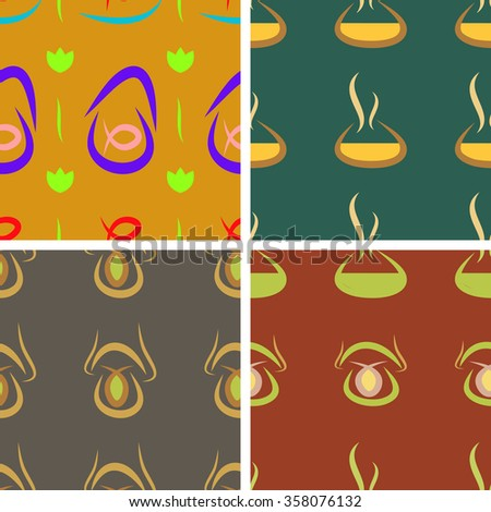 Set of four abstract seamless vector background patterns with fish dishes