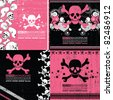 Set of four abstract skull grunge backgrounds design - stock vector