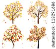 Set of four autumn tree. Vector illustration. - stock vector