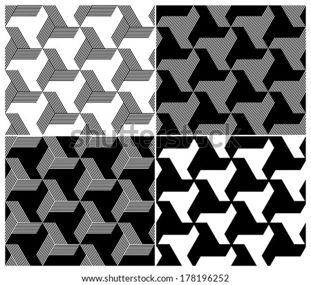 Set of Four B&W Seamless Patterns. Triangle Elements. Vector Illustration - stock vector