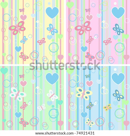 Set of four Baby seamless (vector version eps 8). - stock vector