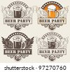 set of four banners with glass of beer and wings - stock vector