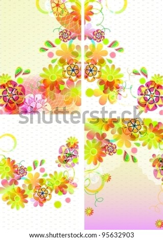 Set of four beautiful backgrounds with flowers,vector illustration