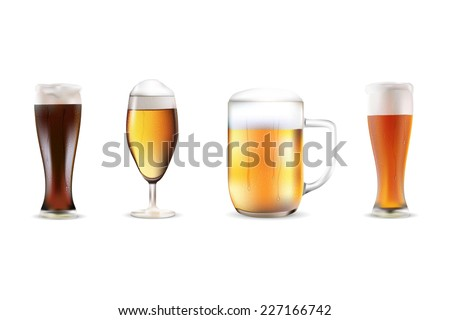Set of four beers in dewy glasses - isolated on white background. Realistic vector illustration. - stock vector
