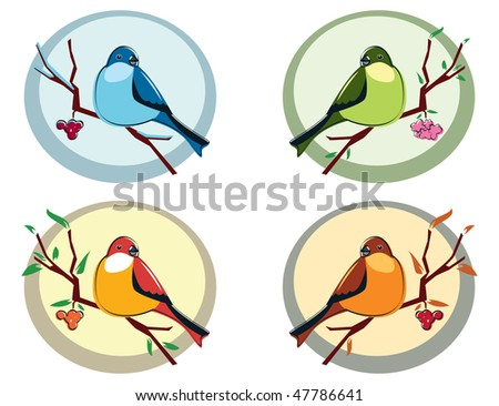 Set of four birds, symbolizing the four seasons: winter, spring, summer and autumn. Birds sitting on a branch with snow, flowers or berries. - stock vector