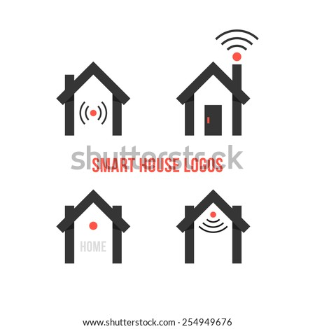 set of four black smart house logos. concept of eco house, automation, home technology, advanced, freelance. isolated on white background. flat style trendy modern branding design vector illustration - stock vector