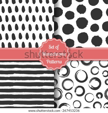Set of four black-white stylish patterns. Monochrome geometric seamless patterns. Fashion grunge backgrounds. Vector illustration. - stock vector