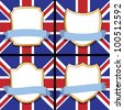 set of four blank shields and ribbons with union jack backgrounds - stock photo