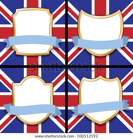 set of four blank shields and ribbons with union jack backgrounds - stock vector