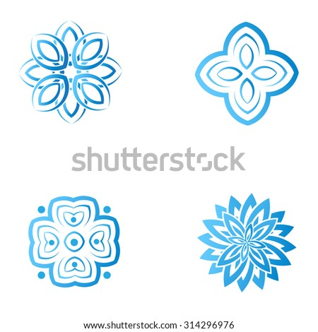 set of four blue flower abstract logo designs. Vector template icon. Can be used for medicine, beauty  or sport business company - stock vector