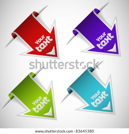 Set of four bookmarks - stock vector