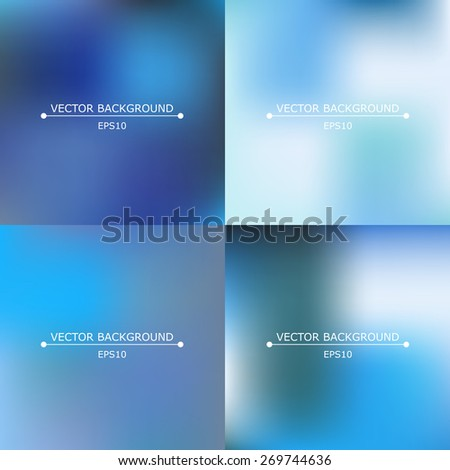 Set of four bright multicolored blurry backgrounds - stock vector