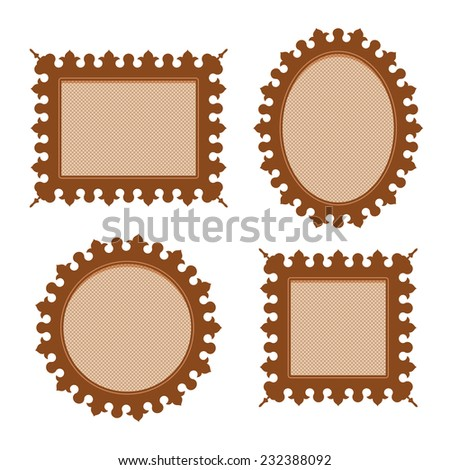 Set of four brown vintage ornamental frames of different shapes with carved edge and substrate fishnet cappuccino color - stock vector