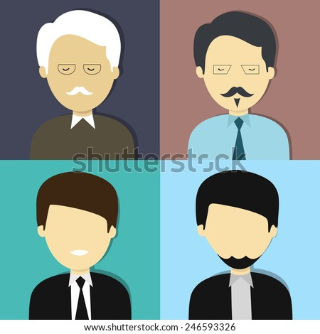 Set of four business character with an old man, young man, young boy and muslim man. - stock vector