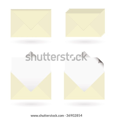 Set of four business icons with envelopes and drop shadow - stock vector