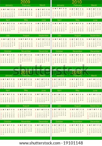 Set of four calendars 2009 to 2012 - stock vector